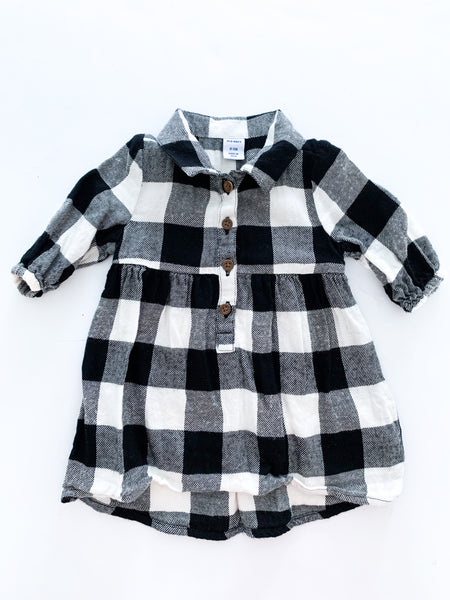 Old Navy BW checker button down dress  (0-3 months)