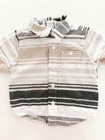 Old Navy grey & taupe stripe short sleeve shirt size 3-6 months