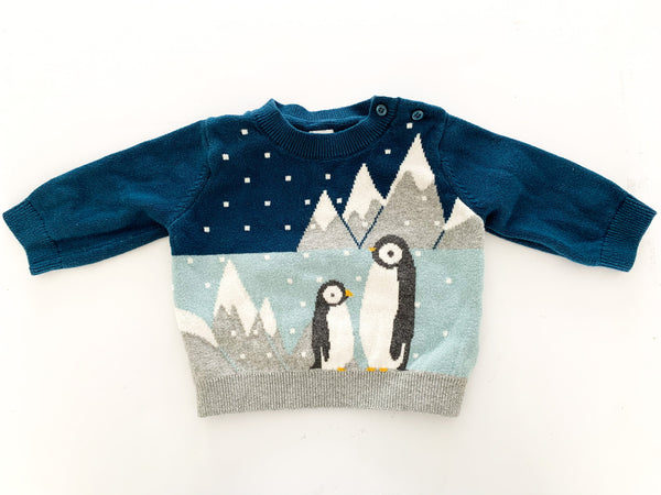 Baby Gap blue sweater with penguin details size 3-6 months