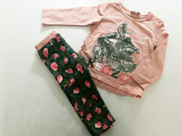 Kenzo pink long sleeve shirt with graphic print & leggings set size 2A