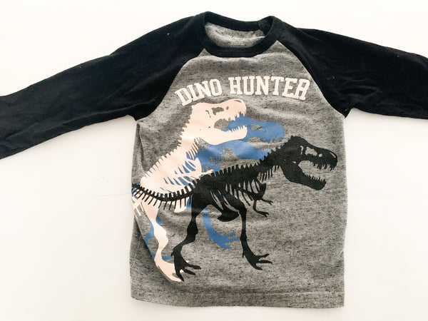 "The Children's Place black & grey baseball ""Dino Hunter"" long sleeve shirt size 2T"