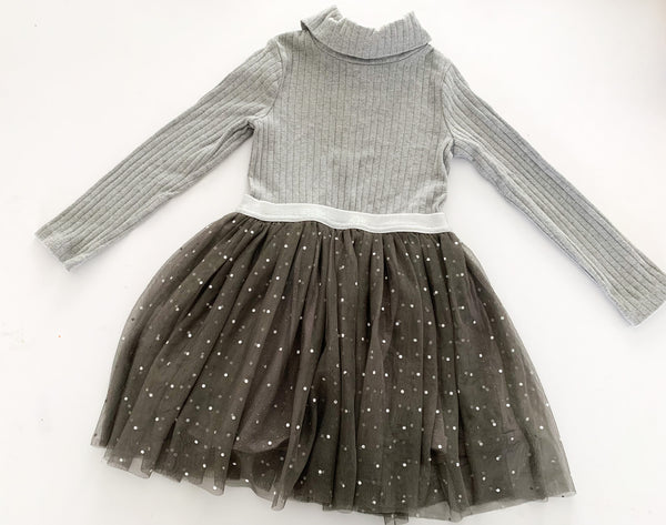 Next grey ribbed turtleneck dress with tulle size 3-4Y