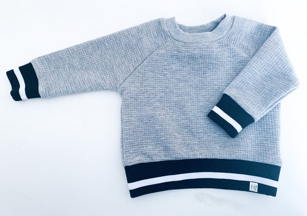 Sovereign Code LA grey waffle sweater with b/w banded cuffs & hem details size 6 months