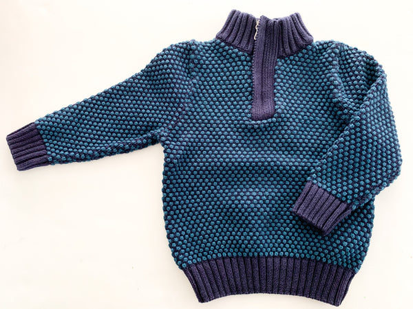 HM Two tone blue half zip sweater (size 1.5-2)