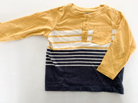 Gymboree yellow & blue stripe long sleeve shirt size 18-24 months