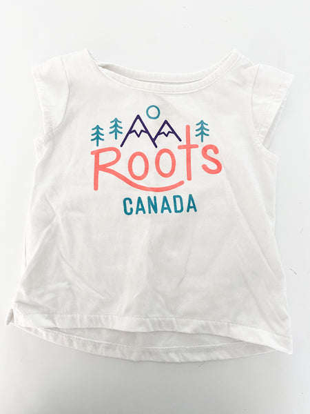 Baby Roots cream coloured tee with graphic print size 6-12 months