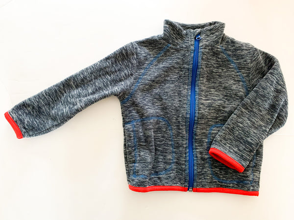 Joe Fresh heathered blue fleece zip up with red trim detail size 2Y