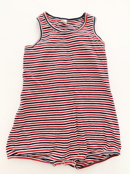 American Apparel red & navy stripe sleeveless romper size 18-24 months
