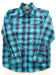 Gap navy/teal plaid button shirt (size 6/7)