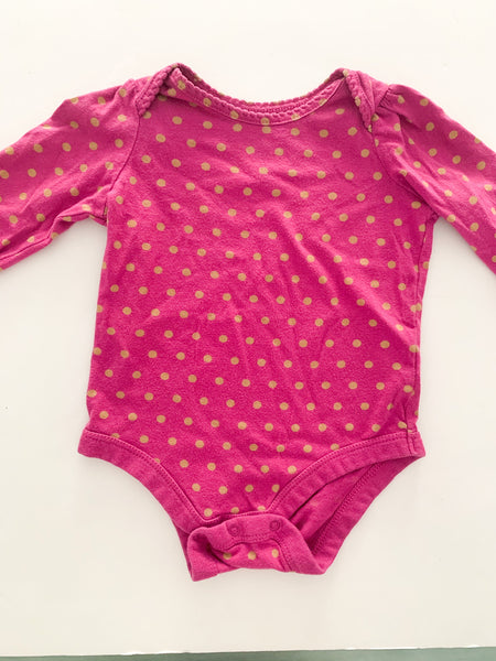 Baby Gap purple long sleeve bodysuit with polka dots size 3-6 months