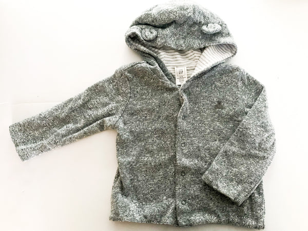 Gap heather grey snap sweater hood (reversible) (6-12 months)
