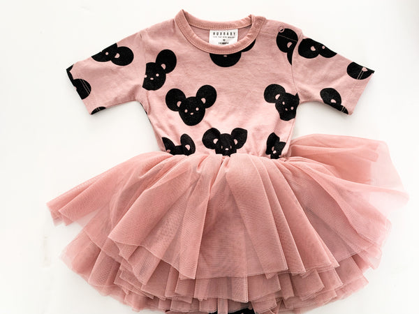 Huxbaby dusty rose dress w/tulle skirt & mouse print (3/6 months)