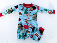 Little Blue House wildlife Christmas sleeper with snaps size 18-24 months