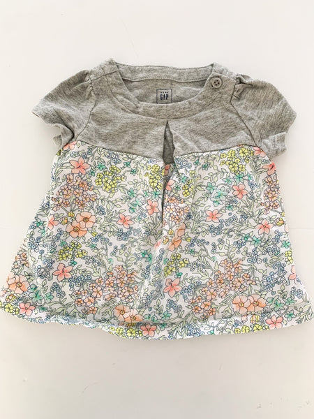 Gap floral and grey shirt (0-3 months)