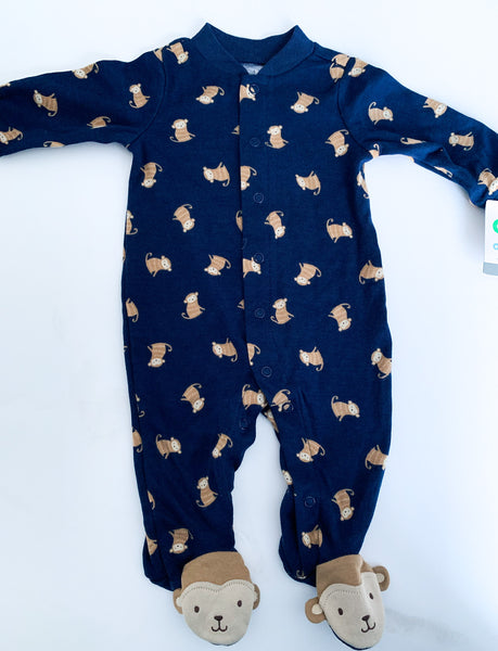 Carter's navy with monkey print footed sleeper with snaps. New with tags size 0-3 months