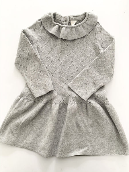 HM grey sweater dress with collar  (12-18 months)