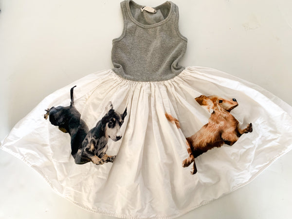 Molo grey with puppy print tank dress size 3-4Y