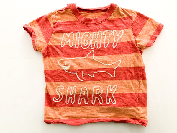 Joe fresh mighty shark orange stripe shirt (size 2)