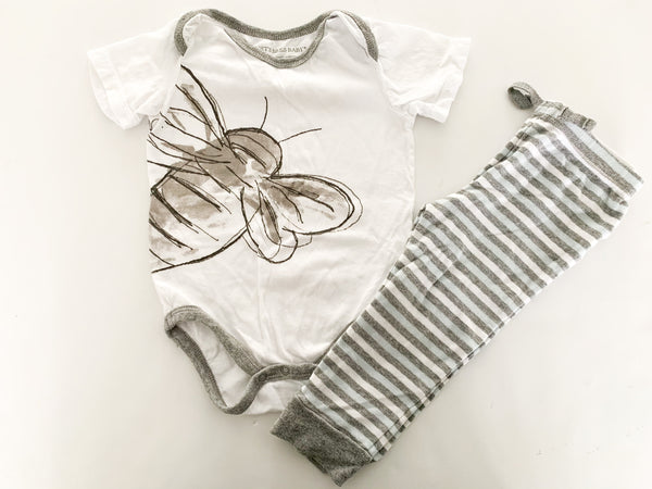 Burt's Bees Baby organic cotton 2pc bodysuit & stripe leggings size 12 months