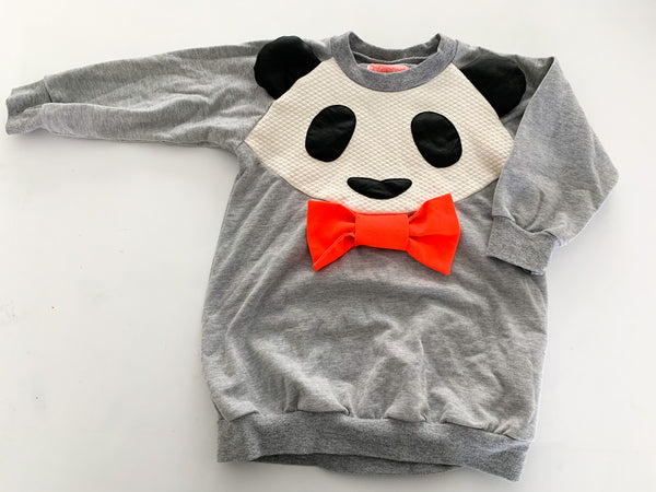 Bang Bang Copenhagen grey sweater dress with panda & bright bow size: 2-3Y