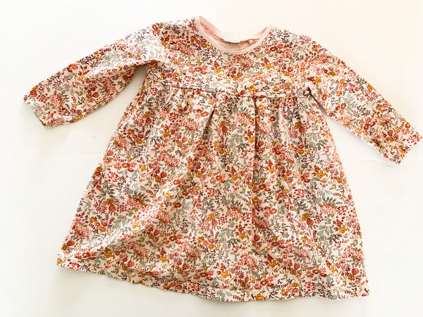 Next pink floral long sleeve 100% cotton dress size 9-12 months