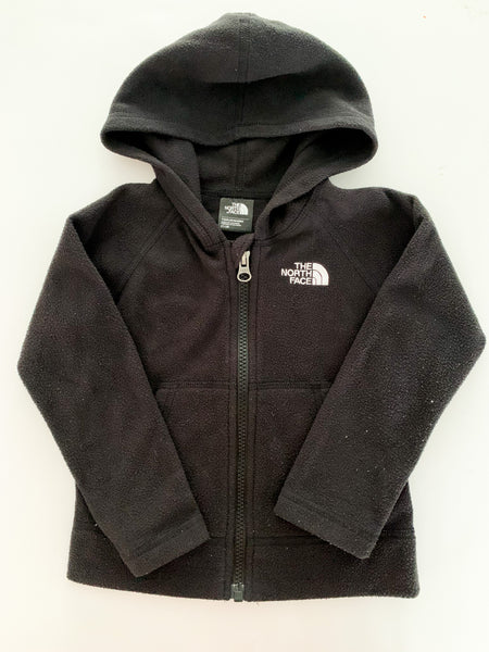 North face black fleece zip up with hood (size 2)