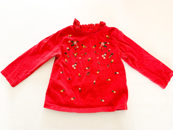 Next red long sleeve shirt with flowers & ruffled collar size 9-12 months
