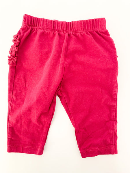The Children's Place raspberry coloured leggings with ruffled bottom size 0-3 months