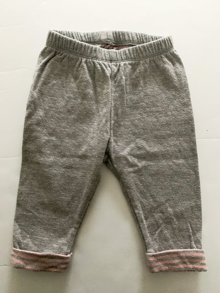 Gap grey sweats w/pink dots and stripe bottoms (3-6 months)