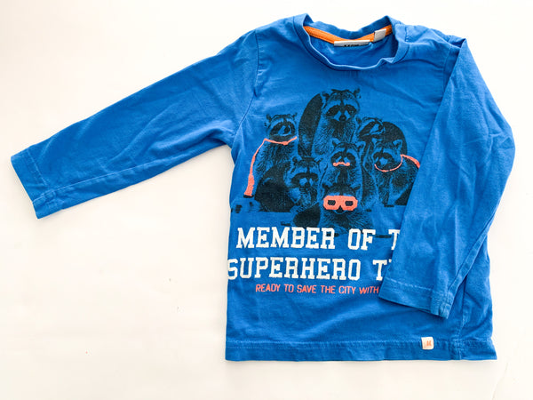 Mexx raccoon blue LS shirt (12-18 months)