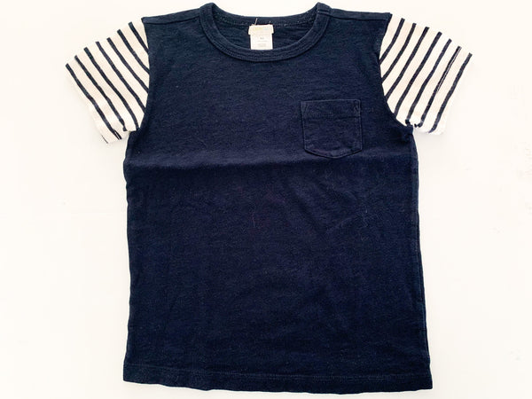 Crewcuts navy tee with stripe sleeves size 4-5Y