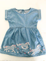 Gymboree denim short sleeve dress with pink horses new with tags size: 12-18 months