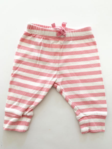 Baby Gap pink & white stripped leggings size 0-3 months