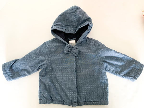 Gymboree denim pin dot hooded jacket with bow detail  size: 18-24 months