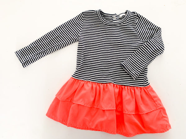Joe Fresh stripe with neon pink long sleeve dress size 5