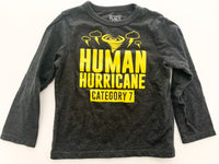 "The Children's Place grey long sleeve ""human hurricane"" shirt size 2T"