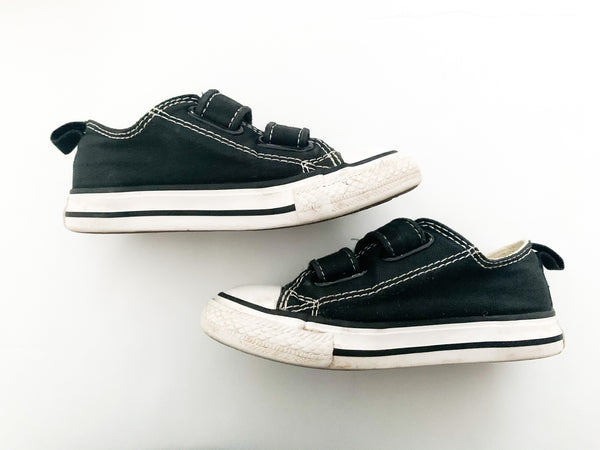 Converse black sneakers with velcro straps size 7