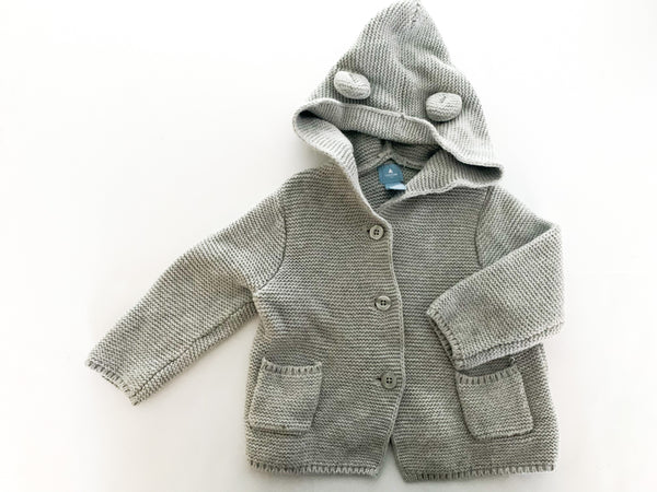 Gap grey knit button down sweater w/ bear hood (6-12 months)