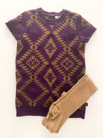 Mexx purple with print short sleeve sweater dress with brown tights size 24-30 months