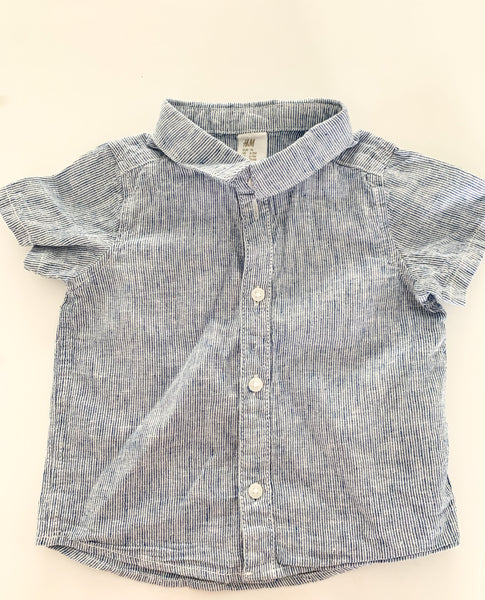 HM blue stripe button shirt  (6-9 months)