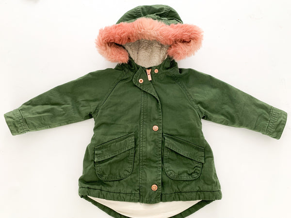 Old navy army green jacket with pink fur hood   (18-24 months)
