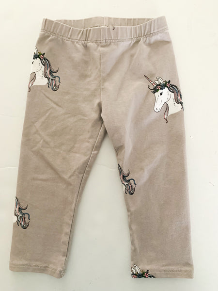 Penny & Co stone colour leggings with unicorns size 6-12 months