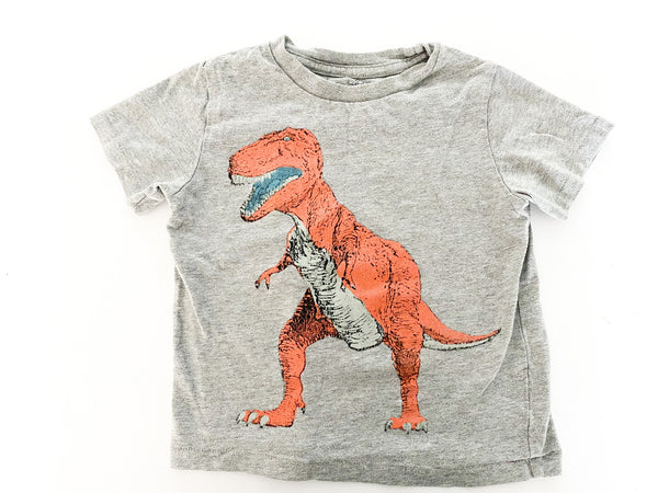 Baby Gap grey tee shirt with T-Rex print size 2Y