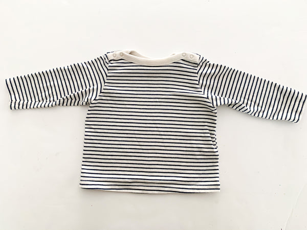 Old Navy white & navy stripe long sleeve shirt size: 6-12 months