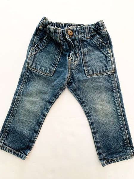 Osh kosh indigo denim jeans with pockets and elastic band (18 months)