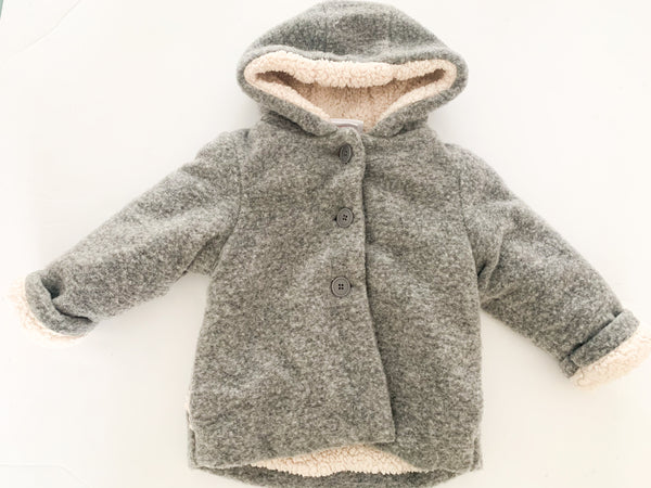 Nula bug grey Sherpa lined coat w/hood(18 months)