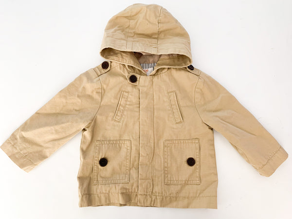 Joe fresh khaki trench w/hood (12-18 months)