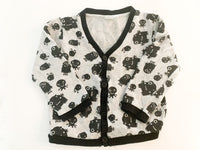 H&M grey and black cardigan with monster graphic print size 1.5-2Y