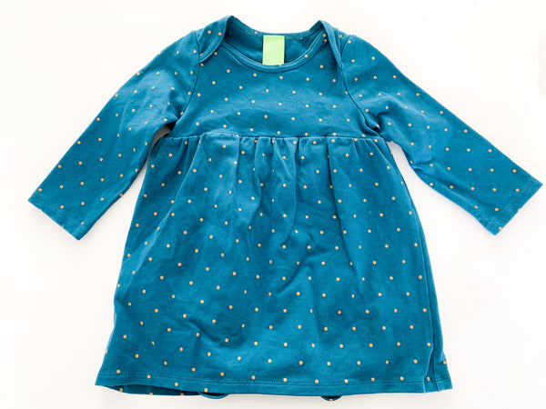 Peekaboo beans teal w/polka dot LS dress w/bodysuit  (12/18 months)