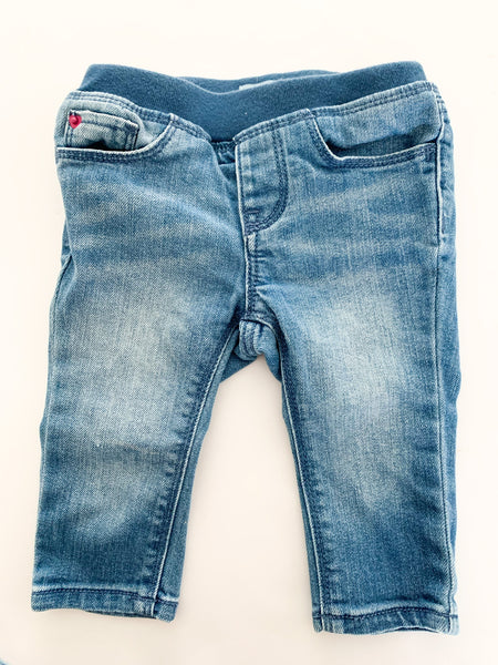Baby Gap faded denim jeans with elastic waist size 6-12 months